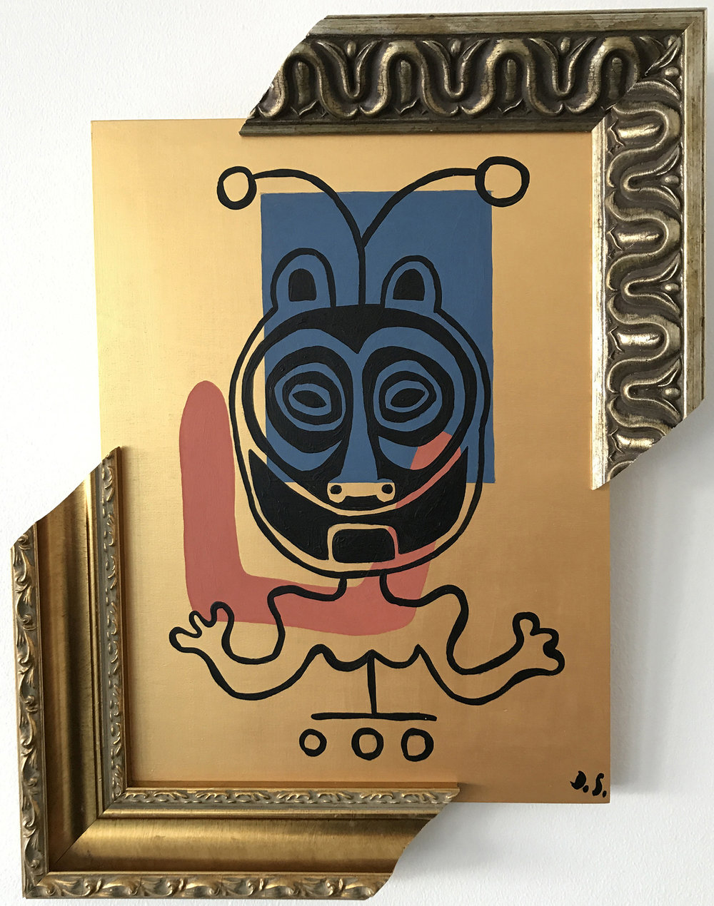 "Female Chief, Acrylic on Wood, painting with frames,  15"" x 12"" x 2"""