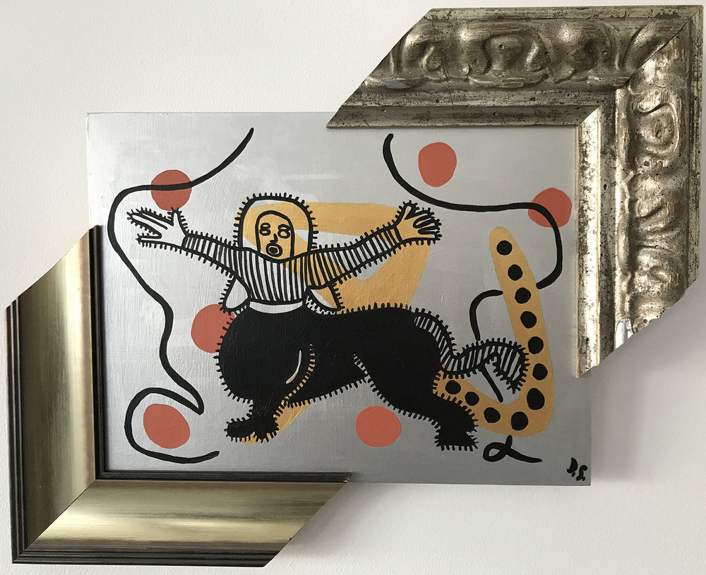 "Female Centaur, Acrylic on Wood, painting with frames,  13,5"" x 16,2"" x 2"""