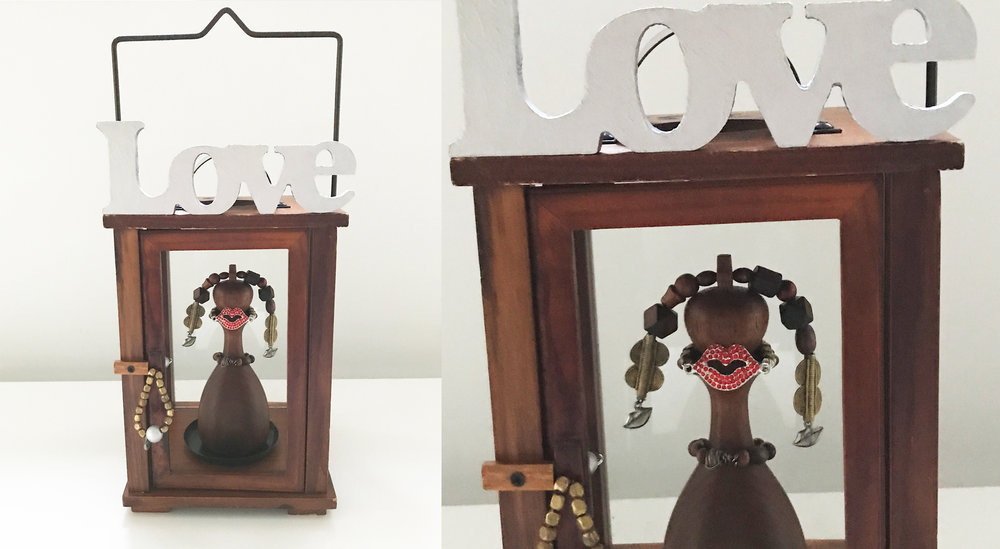 "Love lantern, Wood, Bronze, Iron, Stones,16.7"" x 7"" x 7"""