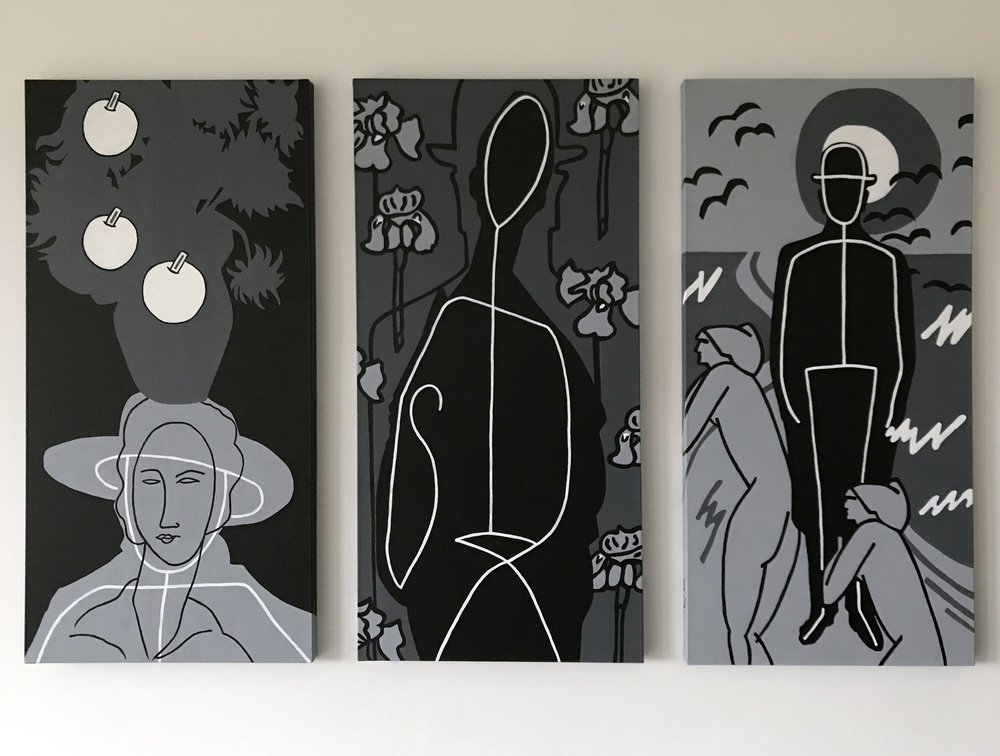 "Trilogy, tribute to Modigliani, Magritte and Van Gogh, 3 x 40"" x 20"", Acrylic on canvas"