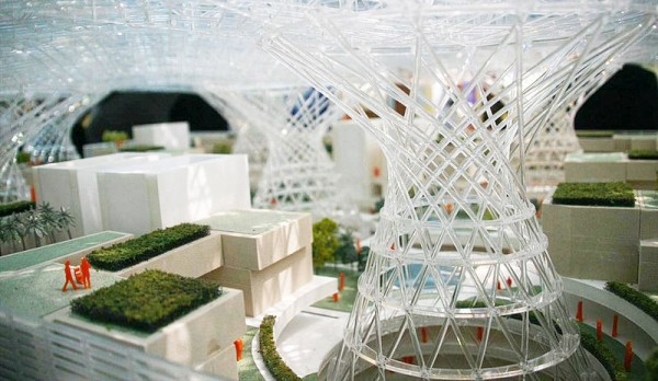 The inside of a 3D printed model with complex parametric design. Masdar Headquarters in Abu Dhabi by Adrian Smith and Gordon Gill Architecture. Source:Columbia University
