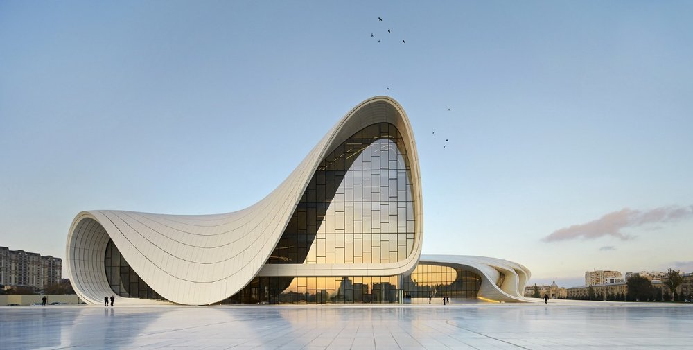 One example of an innovative parametric design by Zaha Hadid. Heydar Aliyev Center in Baku, Azerbaijan. Source: Archdaily
