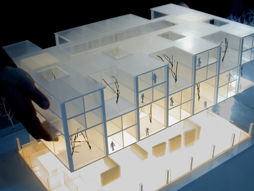 Model composed of cut transparent plastic boards. Blur hotel by Studio Pei-Zhu in Beijing, China. Image from  World Architecture News .