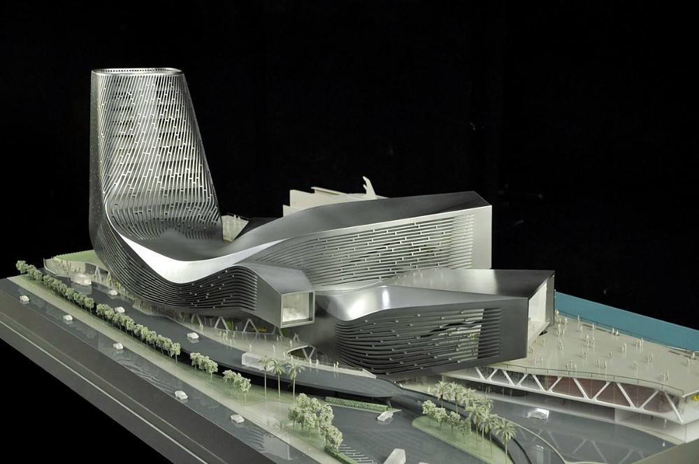 With this model in metallic look, Reiser + Umemoto won the competition for the Kaohsiung Port and Cruise Service Center in southern Taiwan. Image from  Archdaily .