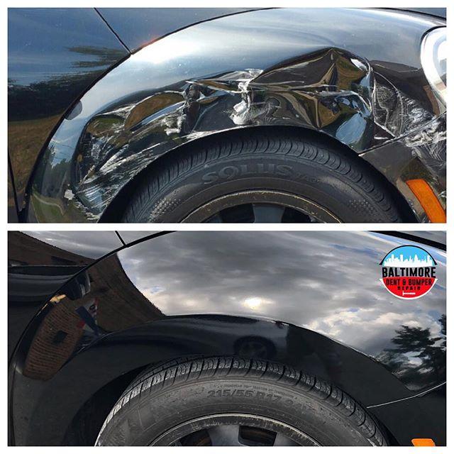 Fender Replacement. #VWBeetle #bodyandpaint #panelreplacement #bumperholerrepair #bumperrepair #BumperScratch #BumperReplacement #smartrepair #paintlessdentdoctor #bumperdentrepair #bumperpainting #baltimorebumperrepainting
