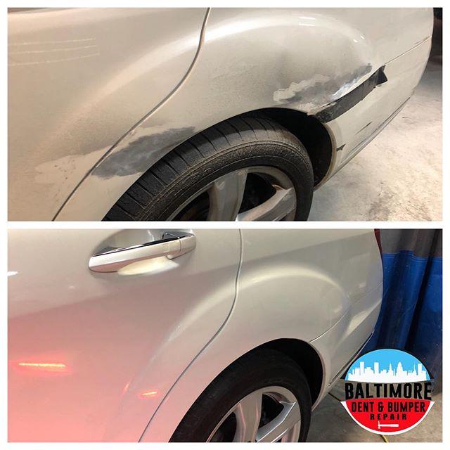 Hybrid PDR & Paint Repair. #mercedess550 #bodyandpaint #bumperholerrepair #bumperrepair #BumperScratch #BumperReplacement #smartrepair #paintlessdentdoctor #bumperdentrepair #bumperpainting #baltimorebumperrepainting