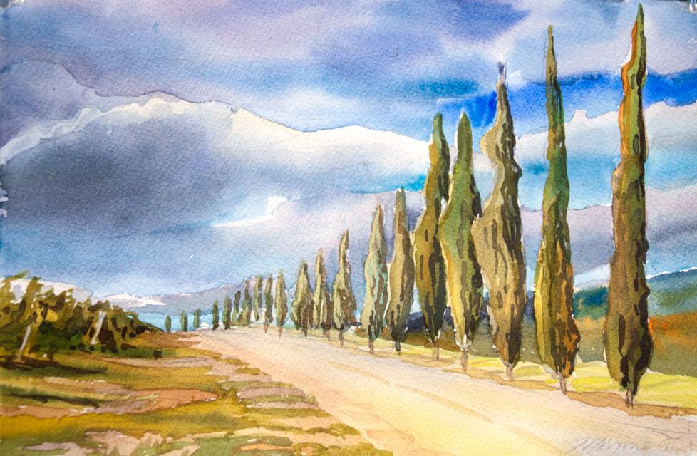 "Dievole Vineyard, Watercolor, 8""x11, ©Marjorie Glick"