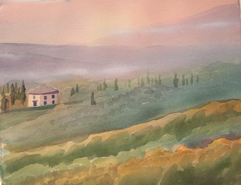 """View Across, Watercolor, 8""""x11"""", ©Marjorie Glick"""