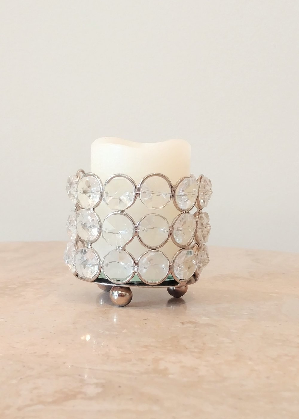 "2.5"" Crystal Candle Holder"
