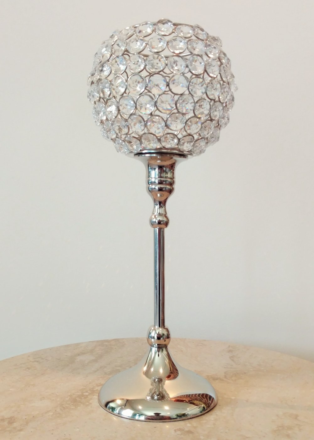 "13"" Raised Crystal Candle Holder"