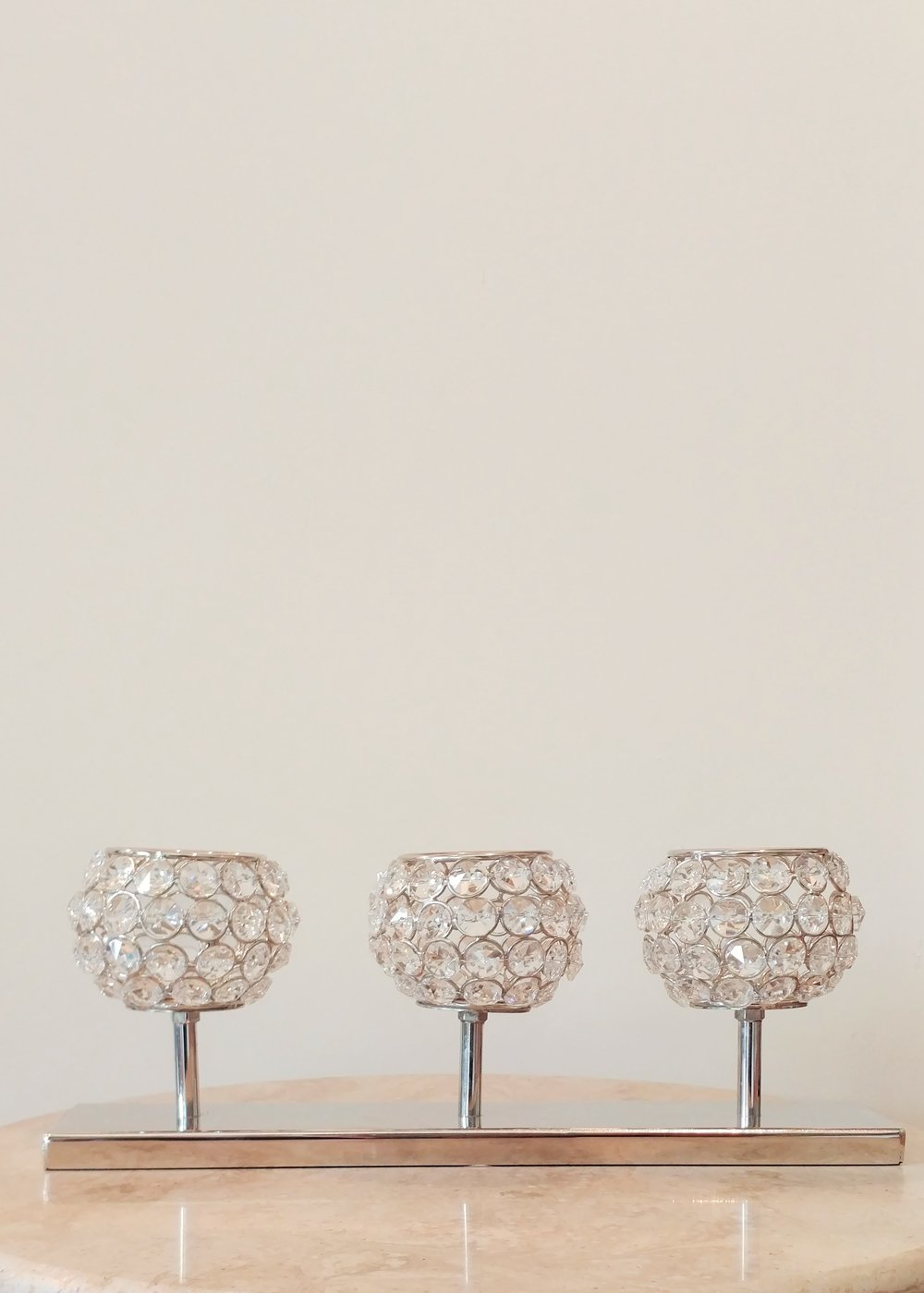 "5"" Set of 3 Crystal Candle Holders"