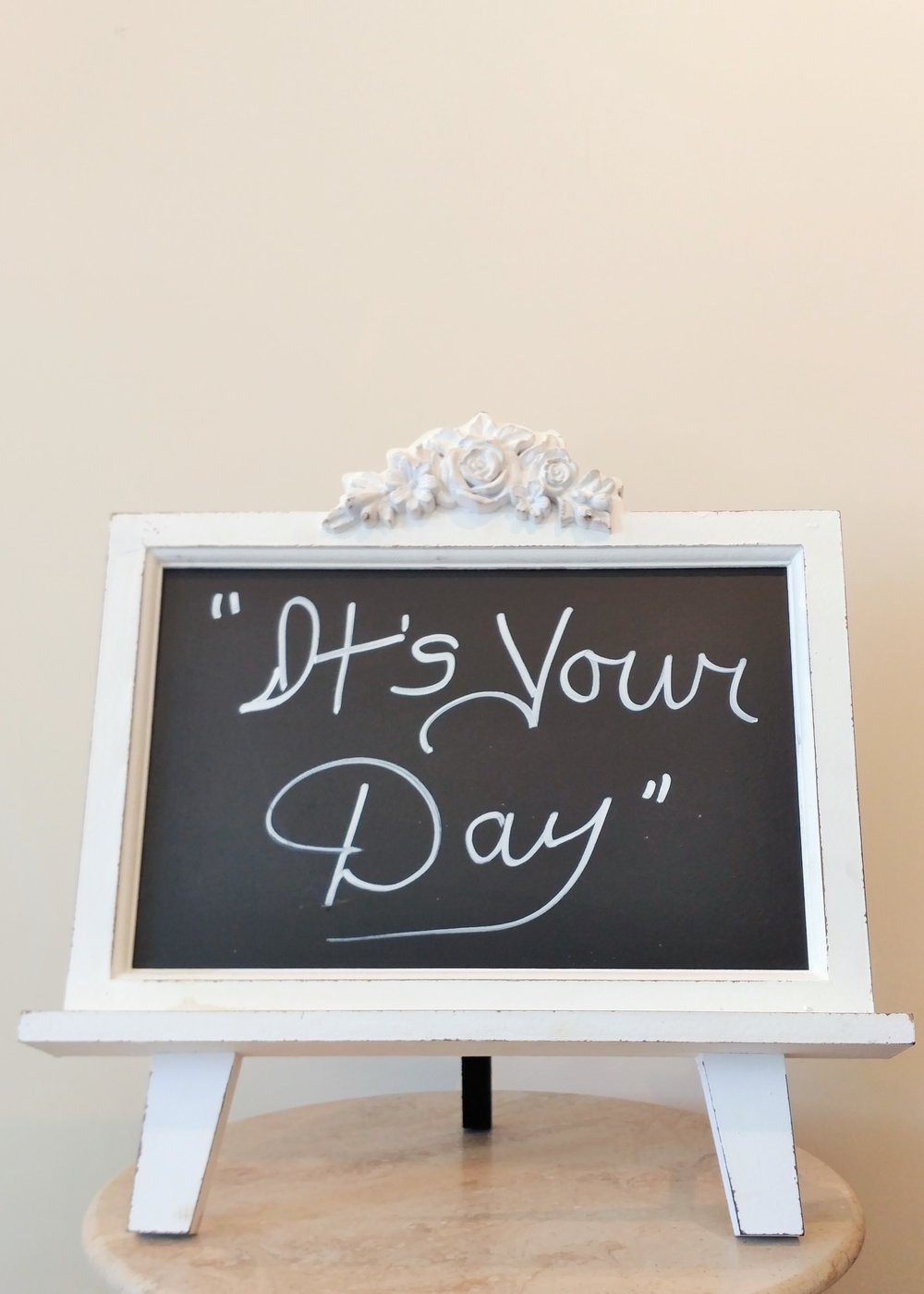 "15.5"" ""It's Your Day"" Chalkboard and Frame"