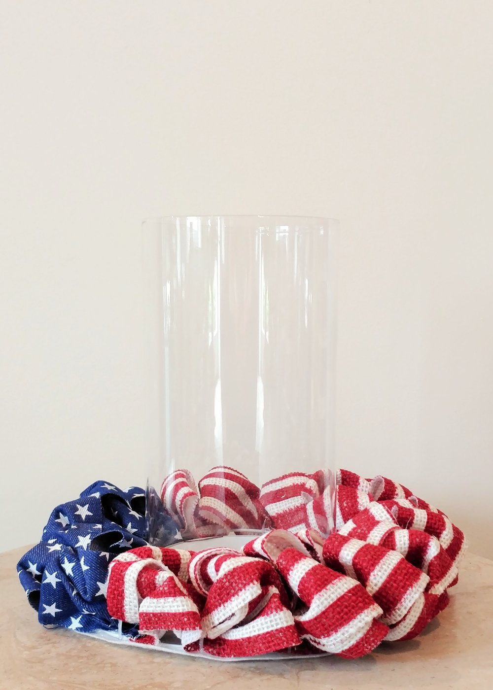 "10"" American Flag Laced Candle Holder"