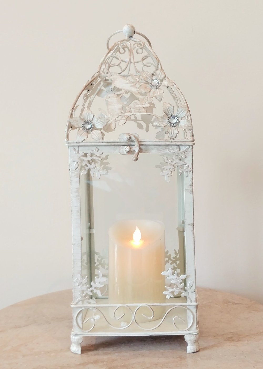 "16"" Decorative White Lantern"
