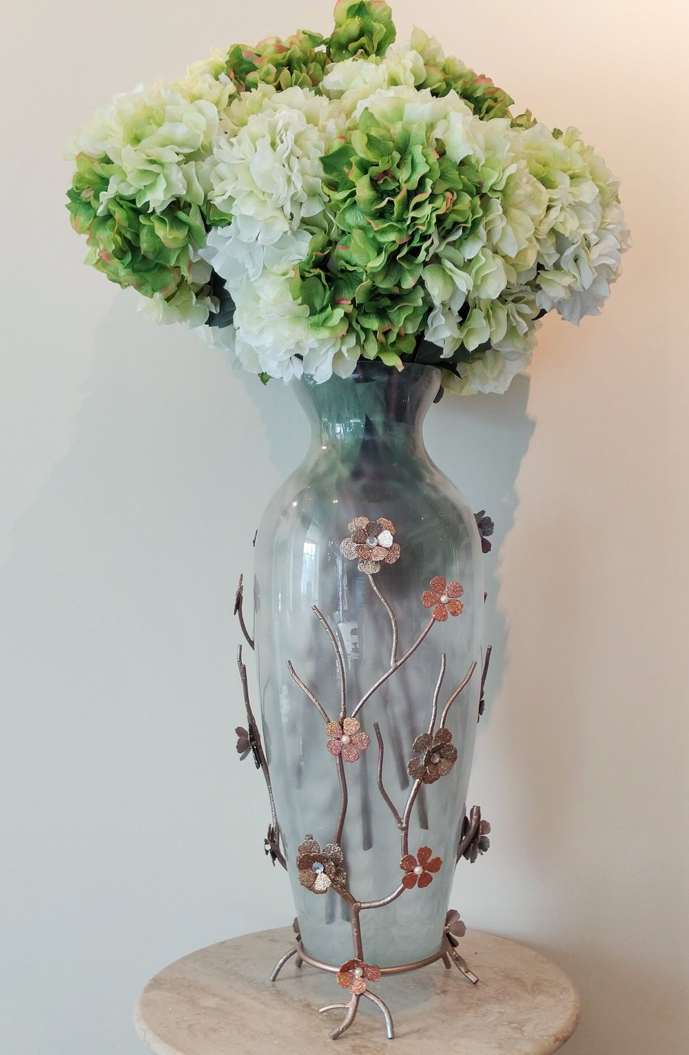 "37"" Glass Vase With Decorative Metal Stand and Silk Flowers"