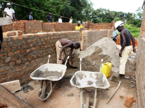 Building a new dormitory at Ibba Girls School in December 2014