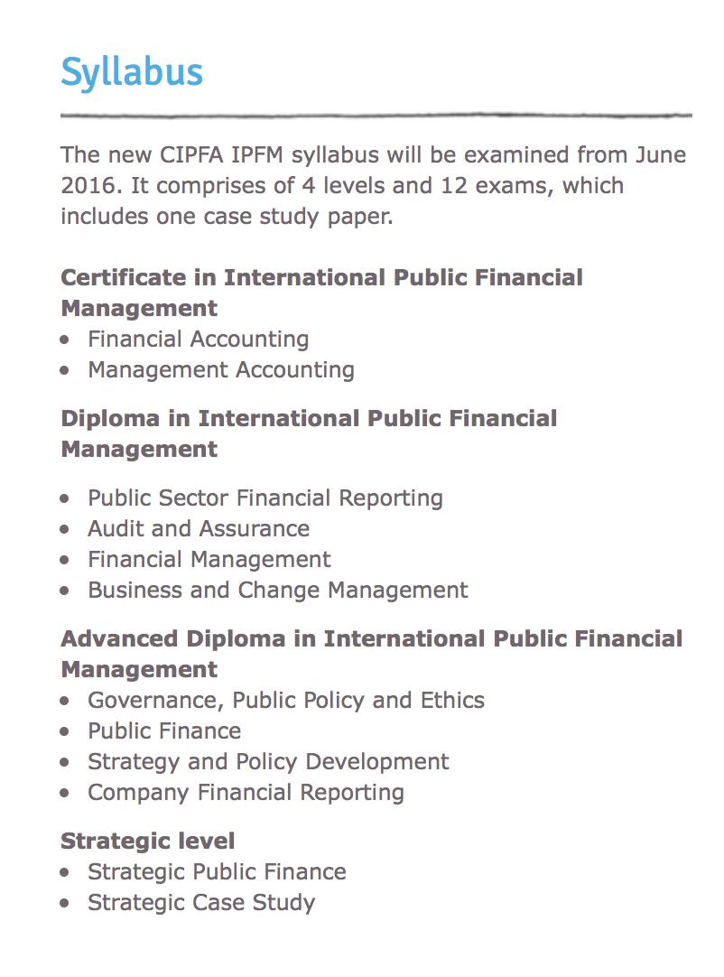 CIPFA IPFM syllabus
