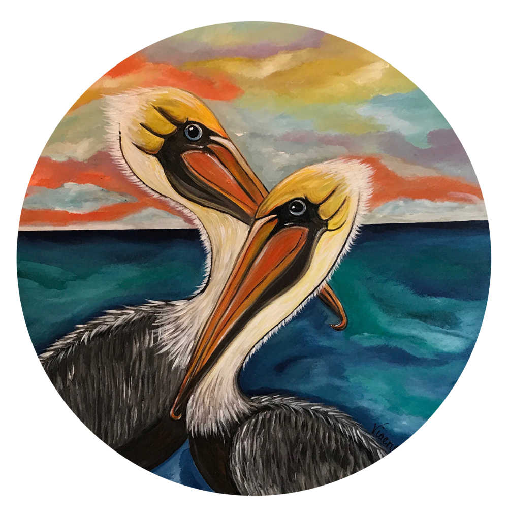 Sunset Pelicans - 201824 inch diameteracrylic on wood