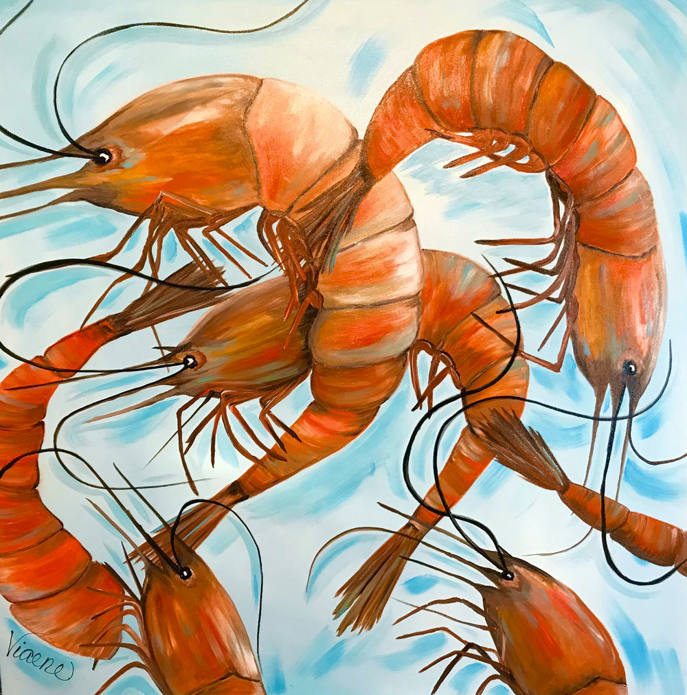 Shrimp, Anyone? - 201840x40 inchesacrylic on gallery-wrapped canvas