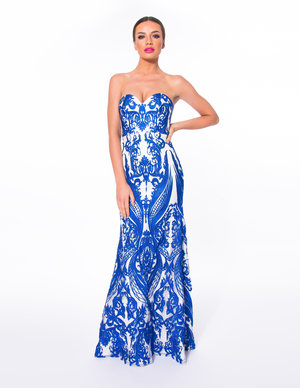3cfdbf12dc Forever Unique Sax Blue D3 AB2110 Sweetheart Strapless Dress ...