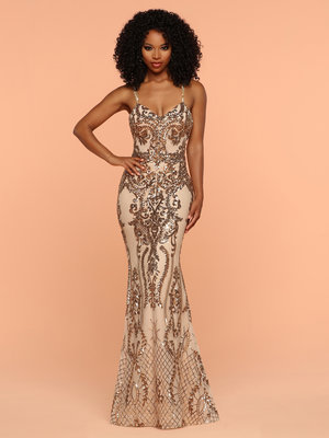 97ce00d4b7 Sparkle Gold 71905 Sequins Fitted Open Back Dress ...