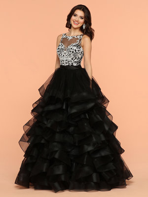Sparkle Black White 71808 Long Ball Gown Sheer Back Illusion