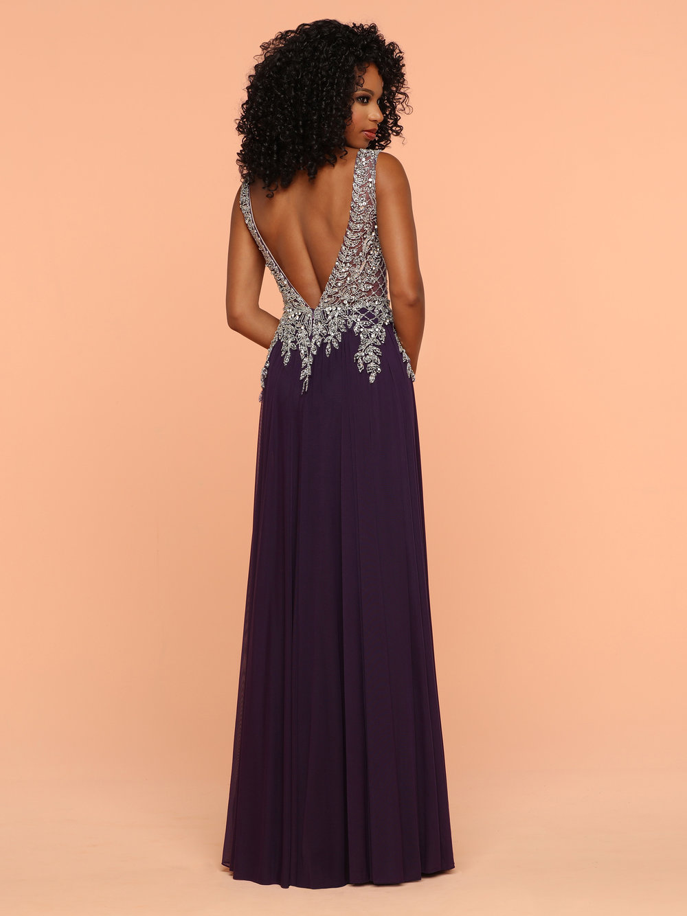ed8cdefc90 Sparkle Eggplant 71815 Low V Back And Neckline With A Beaded Top ...
