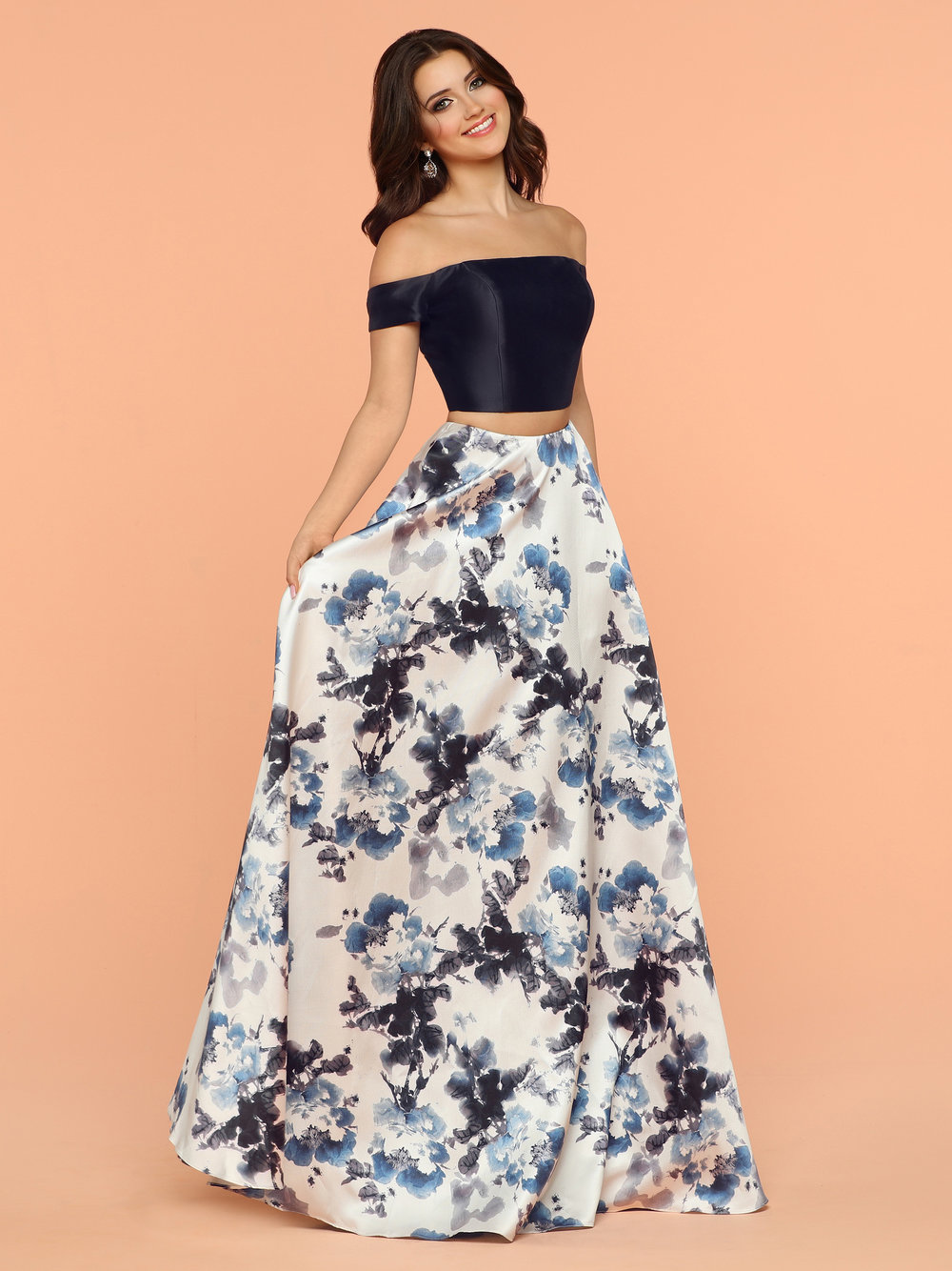 Sparkle Midnight Ivory 71823 Two Piece Off The Shoulder Top And A ...