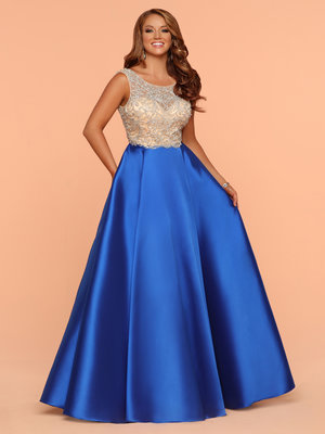 f8f6238ea9 Sparkle Royal Nude 71846 Long A Line Beaded Top Dress With Pockets ...