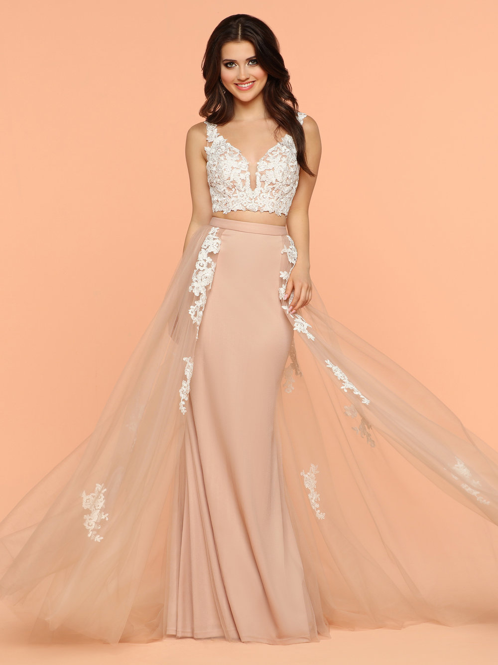 734a530bc230 Sparkle Buff Ivory 71859 Two Piece Dress With A Lace Top Sweetheart  Neckline Open Back