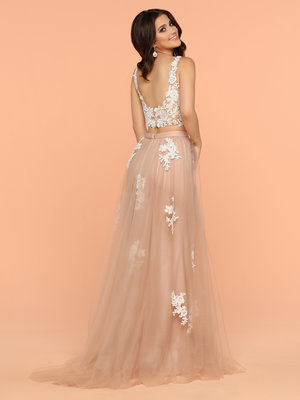 f06079ec08 Sparkle Buff Ivory 71859 Two Piece Dress With A Lace Top Sweetheart  Neckline Open Back