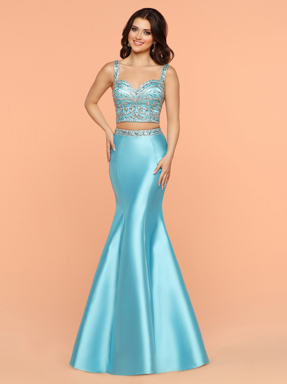 2bf16c2994fb Sparkle Turquoise 71876 Two Piece Dress Beaded Sweetheart Neckline Top and  A Low Open Back