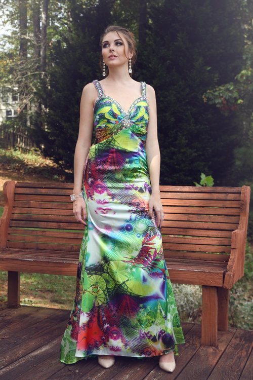 f2205aebce Xcite 30012 Multi Color Fitted Long Dress With Back Cut Outs V Neck ...