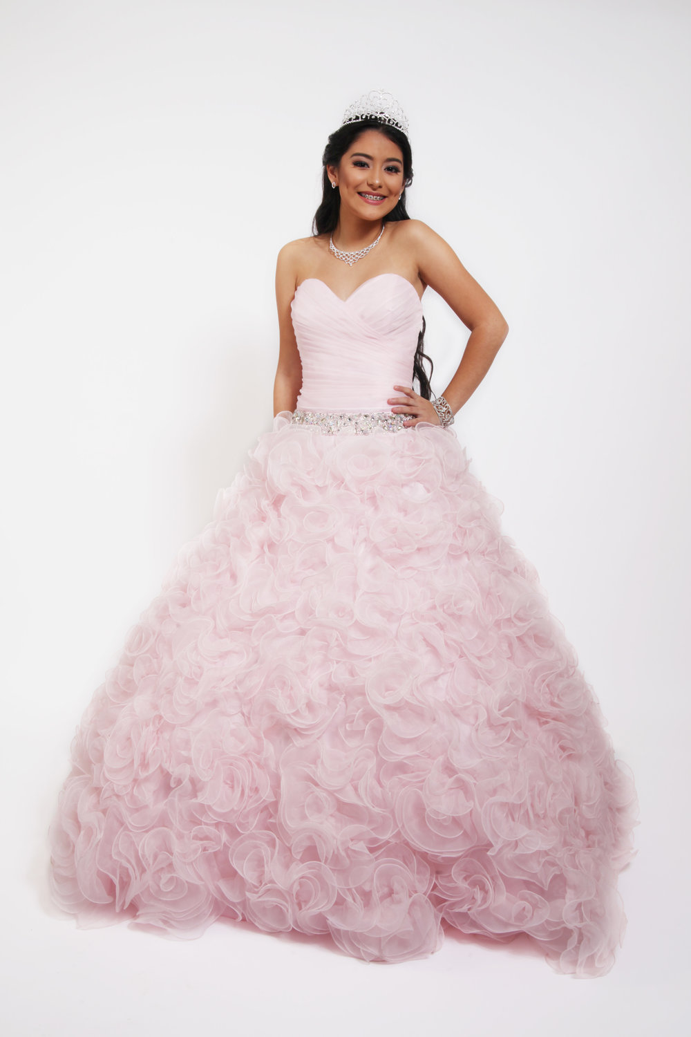 Xcite25PT2DU121313 Pink Ball Gown Beaded Strapless — Blue Bloom Dresses