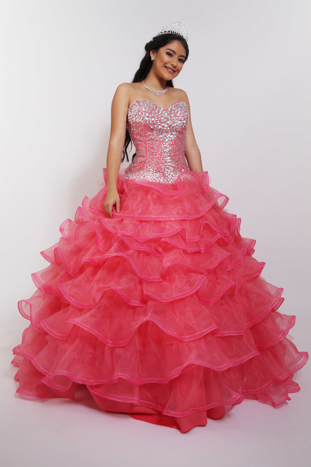 Quinceañera Collection 19DSECT6414 Coral Ball Gown Beaded Corset ...