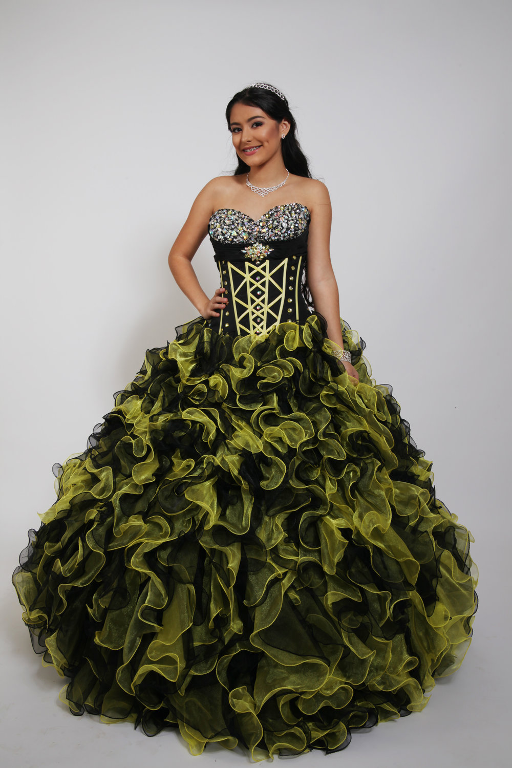 Quinceañera Collection 19QDSEUQ10213 Black Yellow Ball Gown Beaded ...