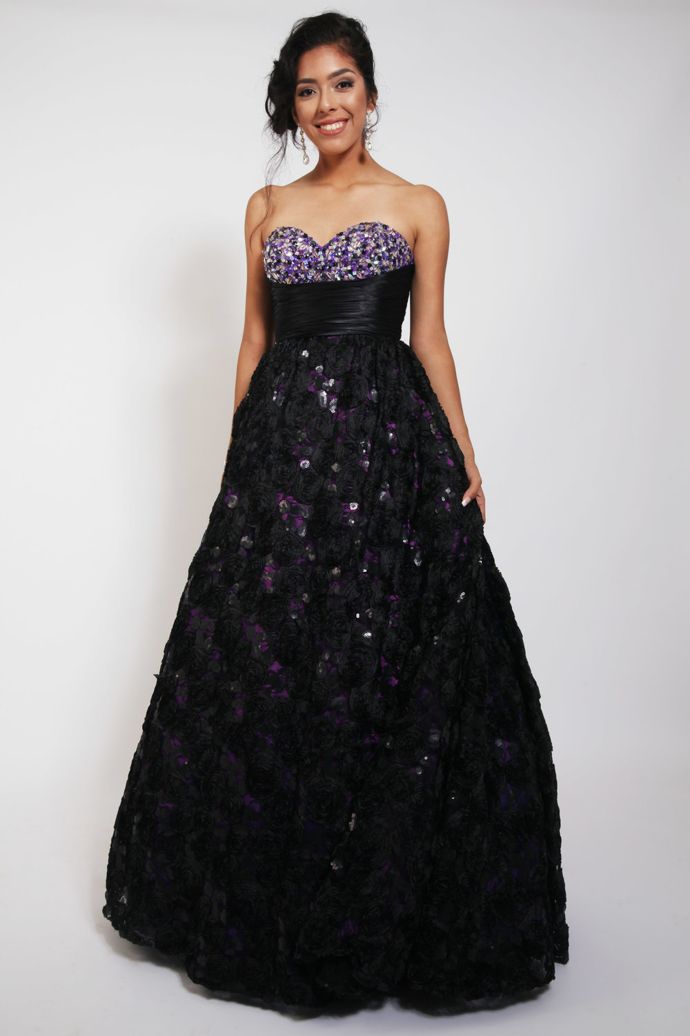Disney Forever Enchanted D8 Tccou Black Purple Ball Gown Beaded Lace