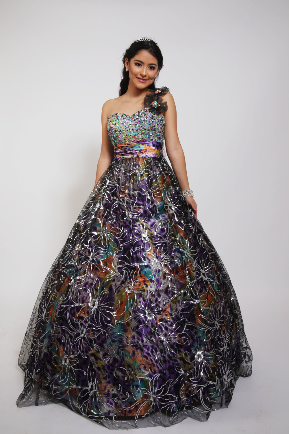 Xcite 30206 Black Silver Ball Gown Beaded Single Shoulder — Blue ...