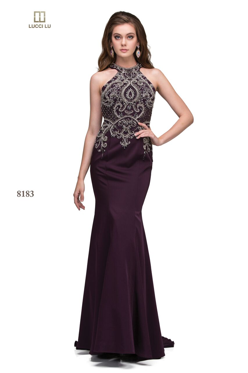1231037f1e Lucci Lu 8183 A Long Fitted Stretch Crepe Beaded Dress — Blue Bloom ...