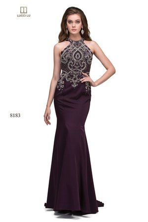 4c948aaab9 Lucci Lu 8183 A Long Fitted Stretch Crepe Beaded Dress ...