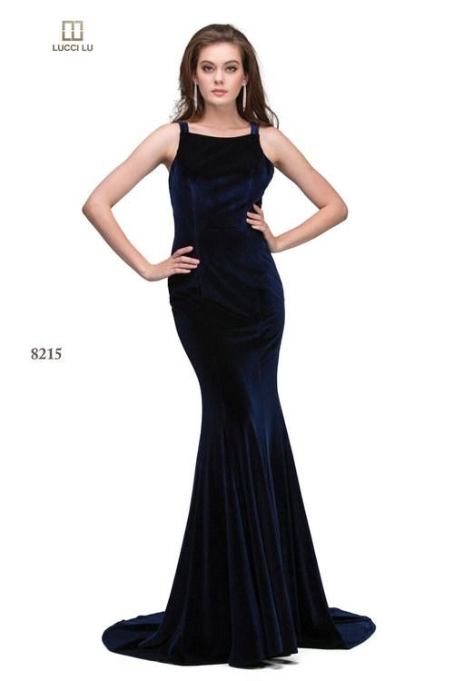 afe0445ef3 Lucci Lu Navy 8215 A Long Fitted Velvet Dress With A High Neckline ...