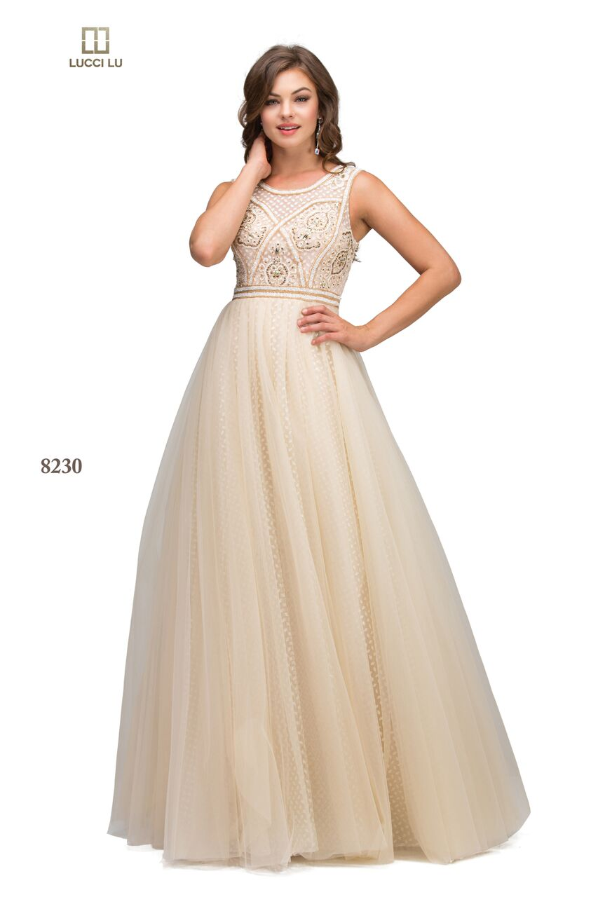 Lucci Lu Champagne 8230 A Long A Line Beaded Dress With A Tulle ...