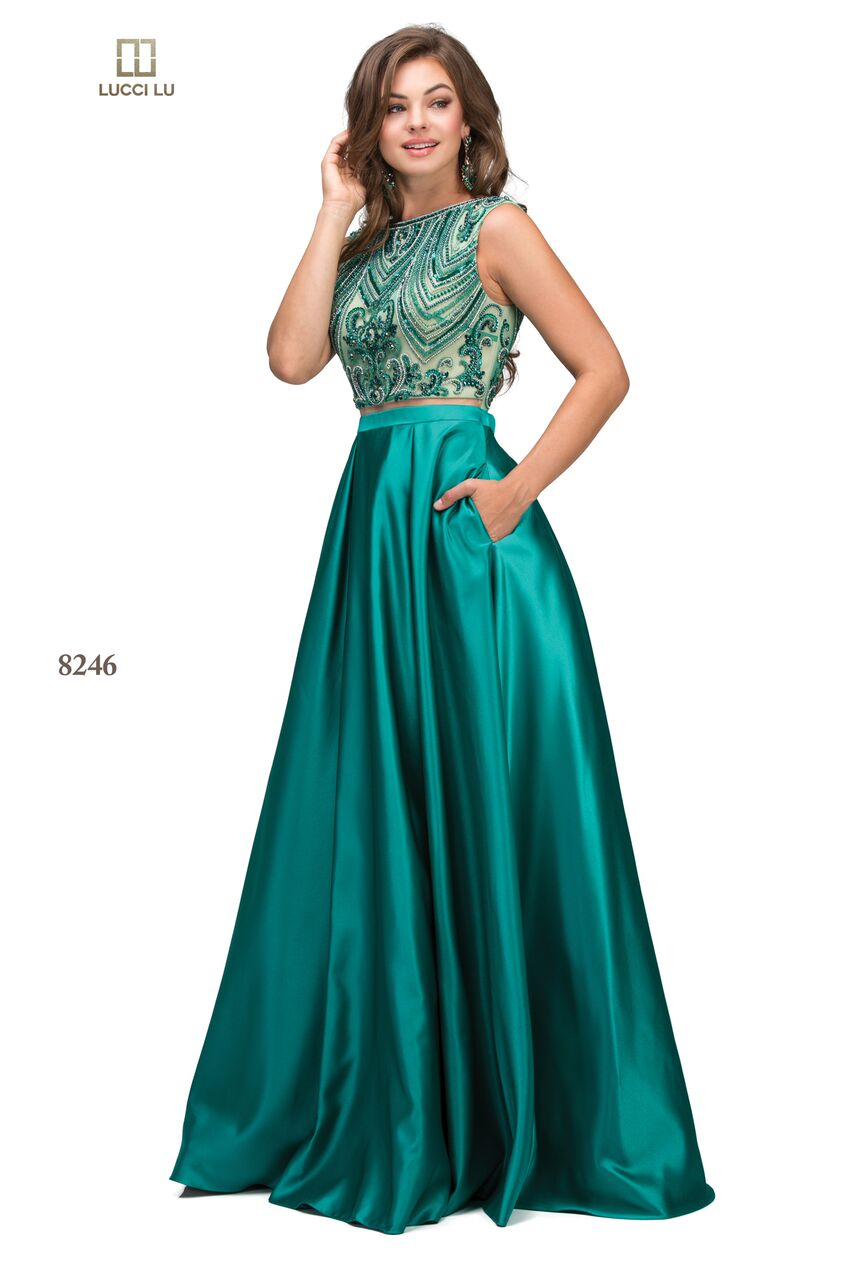 c044ce09ce7 Lucci Lu 8246 A Long One Piece Satin Dress With Pockets — Blue Bloom ...