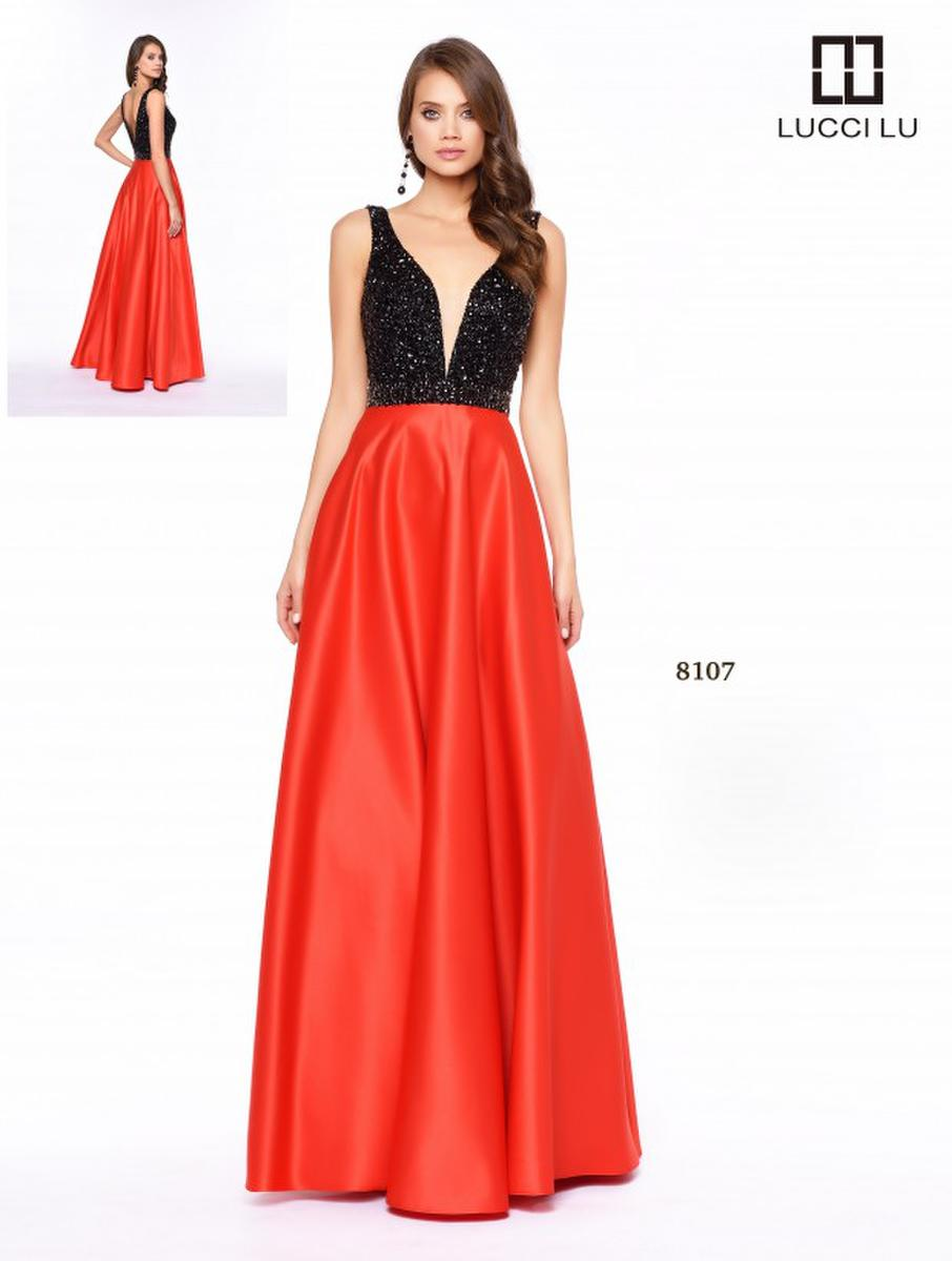 Lucci Lu Black Red 8107 A Long A Line Beaded Dress With A Satin ...