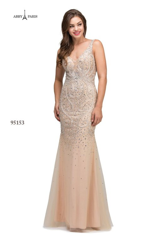 e88f619fbf Abby Paris Champagne 95153 A Long Fitted Mermaid Beaded Tulle Dress ...