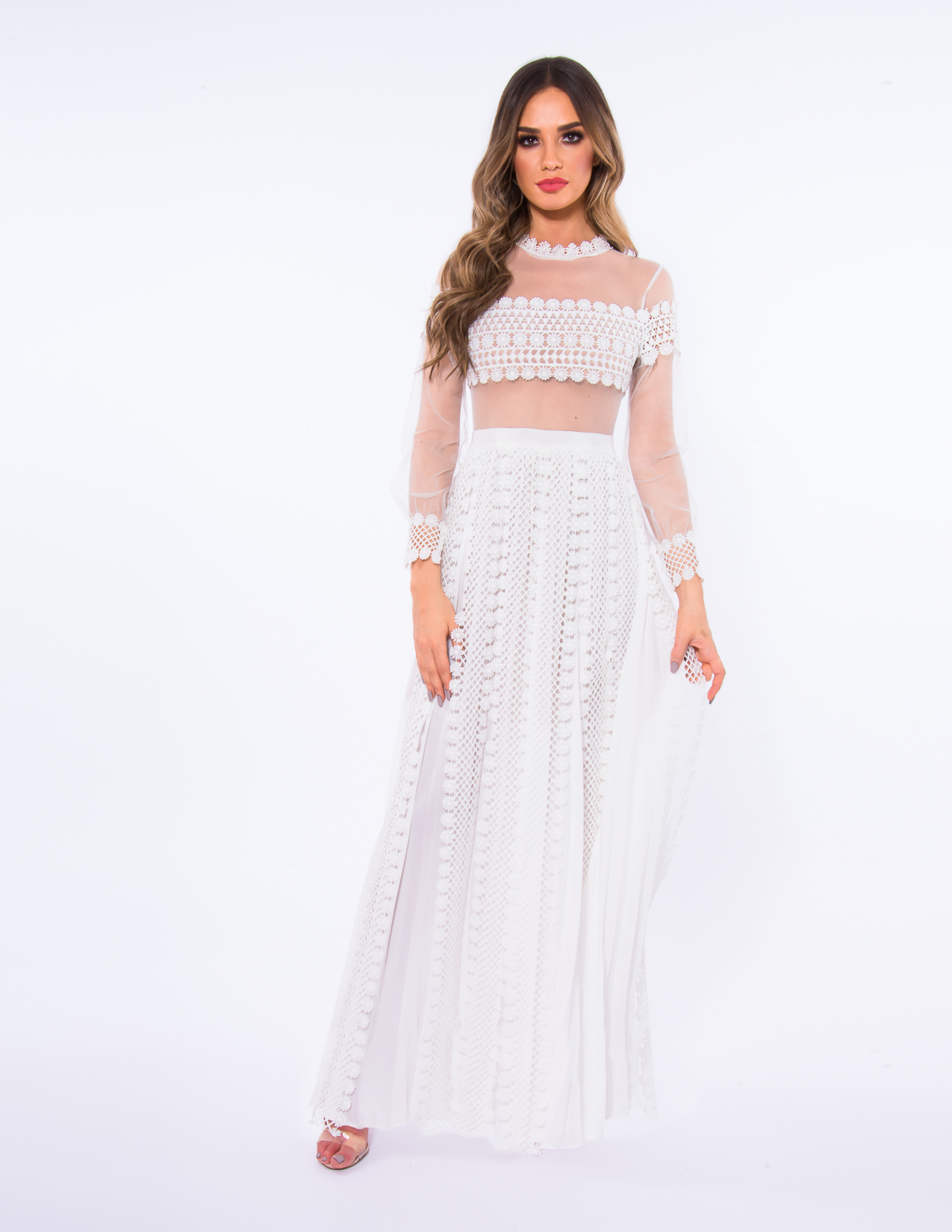 545cee98f705 Forever Unique White AB1133 Lace Dress With Long Sheer Mesh Sleeves ...