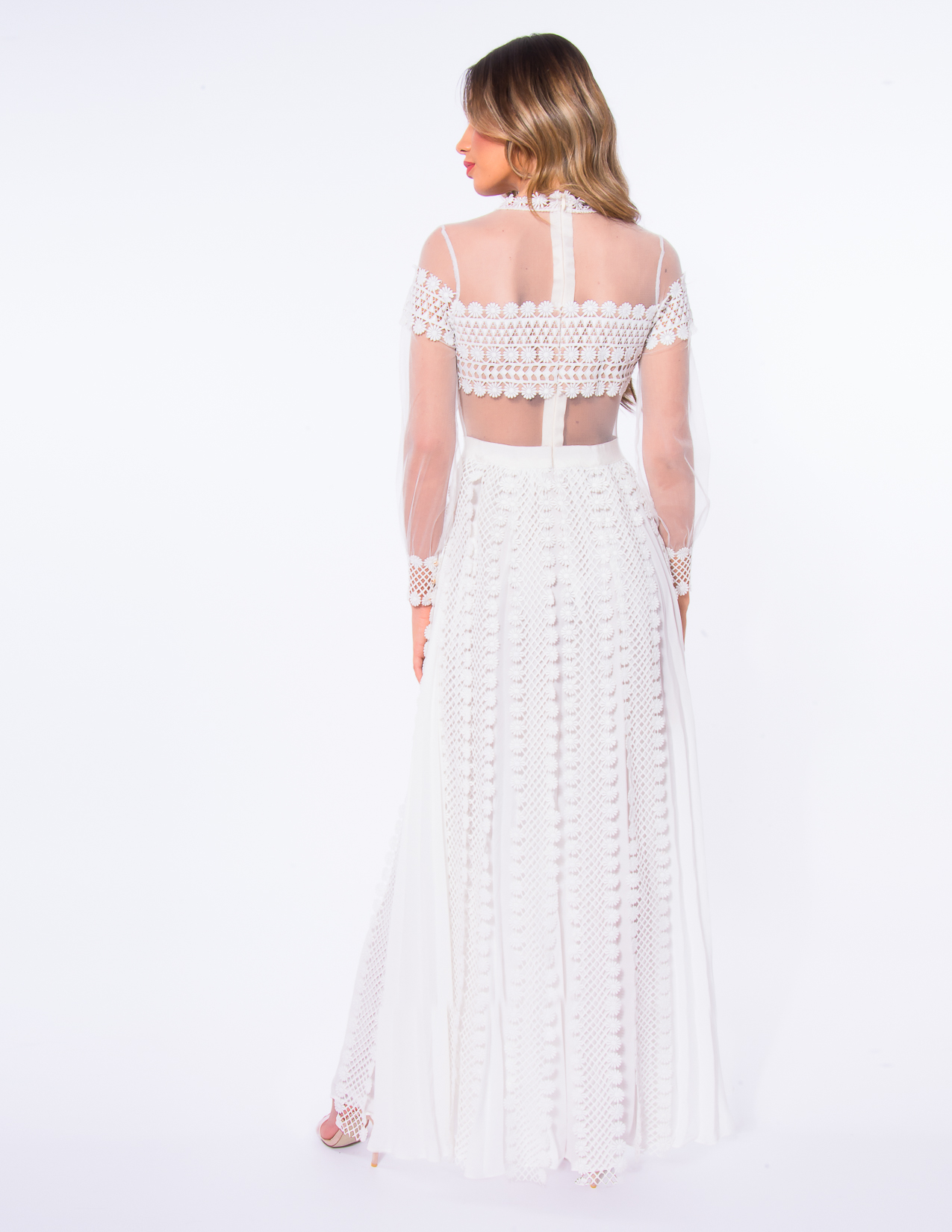 f0700aa2012 Forever Unique White AB1133 Lace Dress With Long Sheer Mesh Sleeves ...