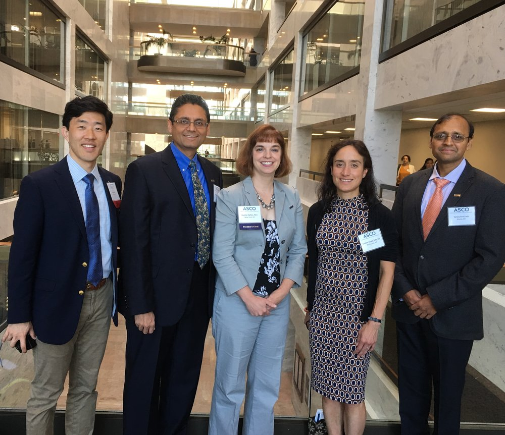 (L-R):  JOP  DAiS Editor Steve Lee, MD; Manish Shah, MD, FASCO;  JOP  DAiS Editor Heather Hylton, PA-C; Kristina Novick, MD; and Sanjay Goel, MD, are pictured at ASCO's 2019 Advocacy Summit.