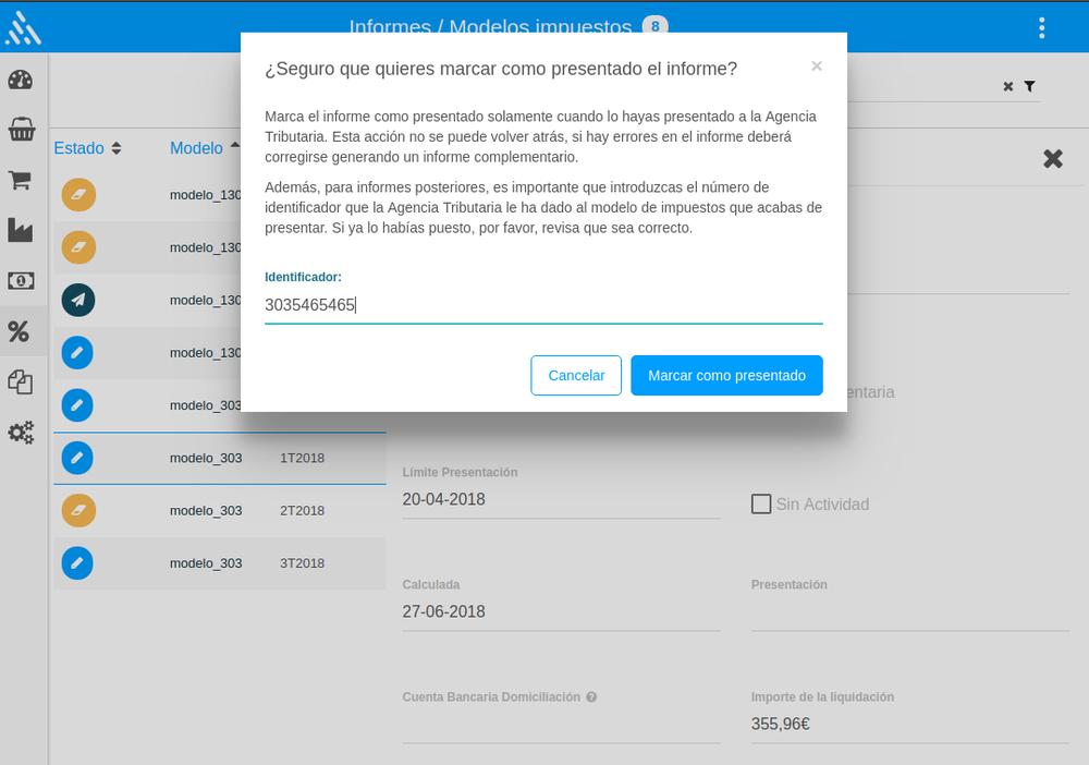 Finaliza la presentación del modelo en Txerpa 3.0 - En el PDF verás el 'Número de justificante', que es un código que empieza con el mismo número del modelo que acabas de presentar.Haz clic en el botón 'Finalizar' (🏴) y te aparecerá una ventana --> introduce aquí el 'Número de justificante' (si no lo introduces no te dejará guardar) --> Haz clic en 'Marcar como presentado' y ¡listo!*Como ves en la pantalla, insistimos mucho en que estés convencido de que todo es correcto. Piensa que una vez presentes el modelo no puedes realizar modificaciones de ningún tipo, sino que tendrías que presentar una 'Declaración Complementaria'. Si es tu caso, consulta con tu asesor.