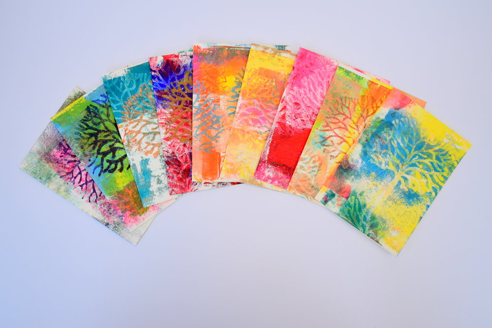 My latest Gelli printed multi-coloured cards.